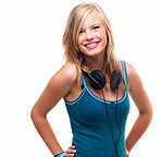 Portrait of a happy young girl with headphones