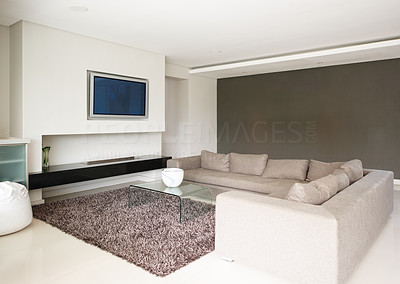 Buy stock photo Interior view of a modern living room