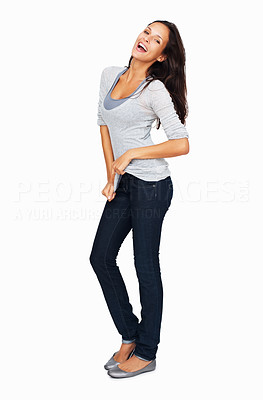 Buy stock photo Full-frame sexy woman casually dancing while tugging on her shirt