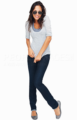Buy stock photo Full-frame sexy woman tugging at shirt