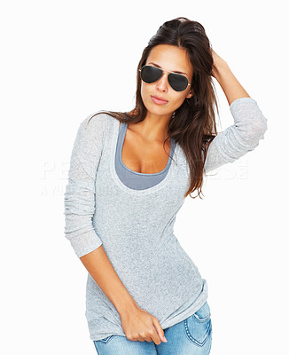 Buy stock photo Full-frame woman wearing sunglasses against a white background