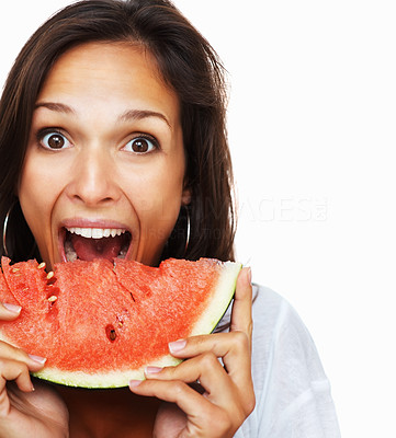 Buy stock photo Woman against white background taking a bite out of a fresh slice of watermelon, isolated on white - copyspace