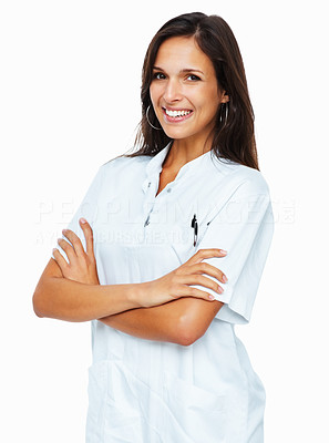 Buy stock photo Pretty woman standing with arms crossed against white background