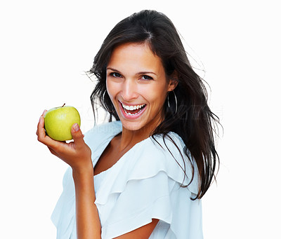 Buy stock photo Head shot of woman holding apple against white background