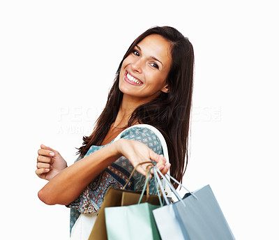 Buy stock photo Head shot of woman holding shopping bags
