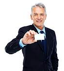Happy businessman showing a empty card with copyspace