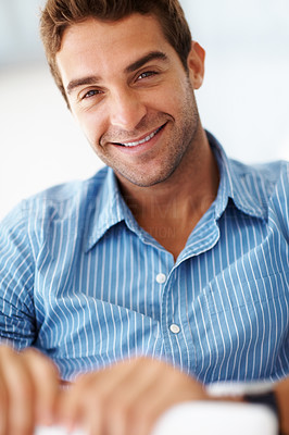 Buy stock photo Portrait of a smart young man looking happy
