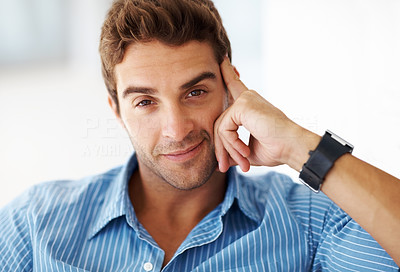 Buy stock photo Portrait of a happy and confident young man at home