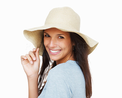 Buy stock photo Head shot of pretty woman holding onto brim of hat