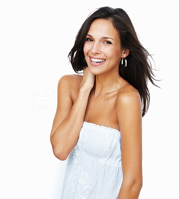 Buy stock photo Pretty woman with hand on neck smiling at camera