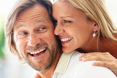 Buy stock photo Closeup portrait of a romantic cheerful mature man and woman smiling