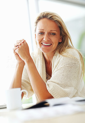 Buy stock photo Portrait of a happy mid adult woman smiling