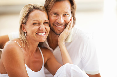 Buy stock photo Closeup portrait of a happy loving couple smiling