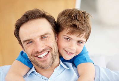 Buy stock photo Closeup portrait of a happy father and son together - Indoor