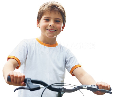 Buy stock photo Portrait of a innocent little kid on bicycle against bright background