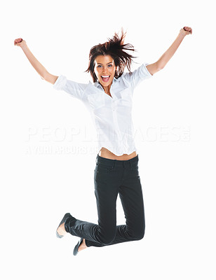 Buy stock photo Casual woman jumping in joy Ð isolated over a white background