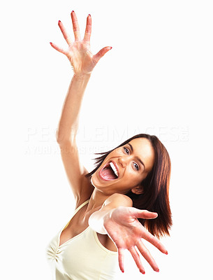 Buy stock photo Excited colleague student gesturing success isolated on white background