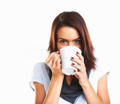 Buy stock photo Attractive young woman drinking coffee isolated on white background