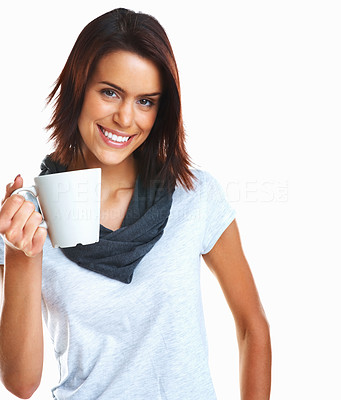 Buy stock photo Young happy mixed race woman holding a coffee cup isolated on white background