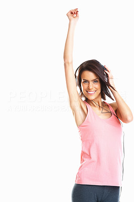Buy stock photo Young attractive girl listening to music with copyspace against white background