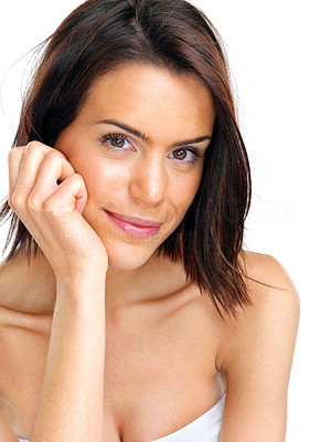 Buy stock photo Closeup portrait of a cute young woman looking at you aginst white background