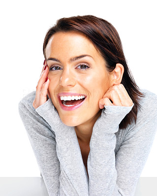 Buy stock photo Portrait of smiling woman resting her chin on hand against white background