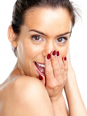 Buy stock photo Portrait of a surprised young female fashion model posing against white background
