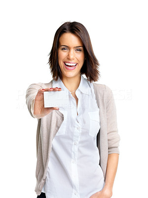 Buy stock photo Portrait of a happy young woman with bussiness card against white background