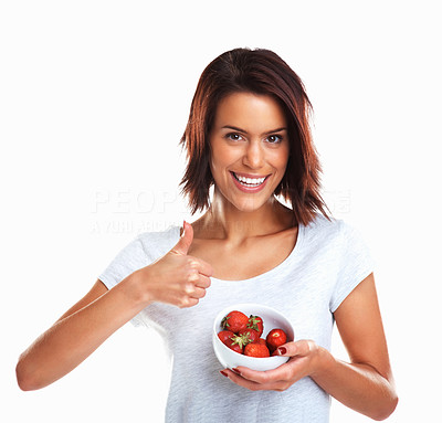 Buy stock photo Portrait of a smiling woman with a bowl of strawberries wishing you luck