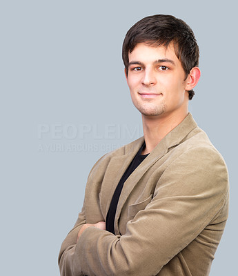 Buy stock photo Portrait of a young handsome business man or student.