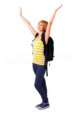 Buy stock photo Female student with her arms raised up in the air, celebrating a success. This isolate is taken in our studio.