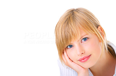 Buy stock photo Portrait of a beautiful Isolated young female student, taken in our studio.
