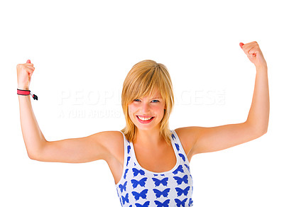 Buy stock photo Girl flexing her biceps on isolated white background