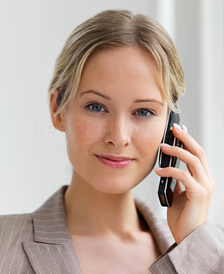 Buy stock photo Close-up portrait of young beautiful smiling woman using cell phone