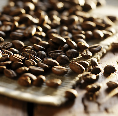 Buy stock photo A cropped shot of fresh coffee beans