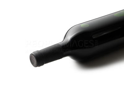Buy stock photo Isolated red wine bottle on white background.