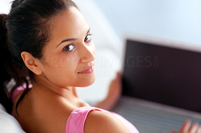 Buy stock photo Closeup portrait of a pretty young female working on laptop