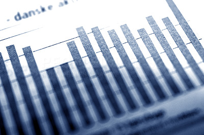 Buy stock photo Close-up of a graph from the financial section of the newspaper