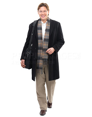 Buy stock photo Portrait of a cheerful businessman against white background