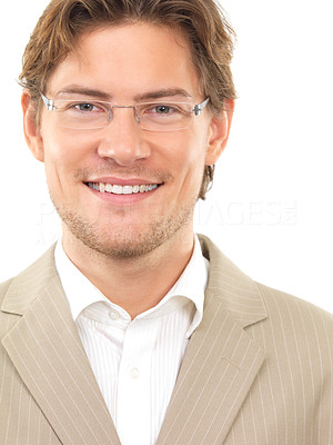 Buy stock photo Portrait of a cheerful young businessman against white background