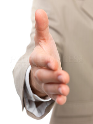 Buy stock photo A businessman with an open hand ready to seal a deal