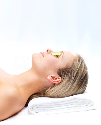 Buy stock photo Cucumber treatment