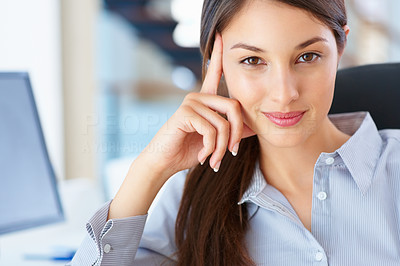 Buy stock photo Closeup of female executive giving you cute smile