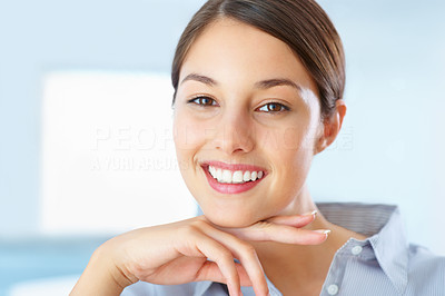 Buy stock photo Closeup of beautiful young female executive smiling