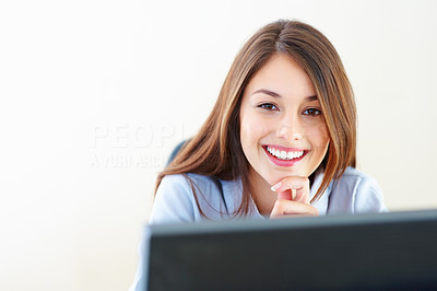Buy stock photo Closeup of smiling businesswoman working on computer