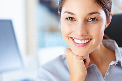 Buy stock photo Closeup of pretty businesswoman smiling with hand on chin