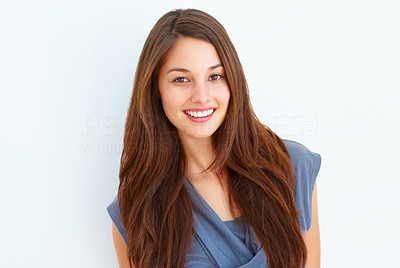 Buy stock photo Portrait of an attractive young woman smiling