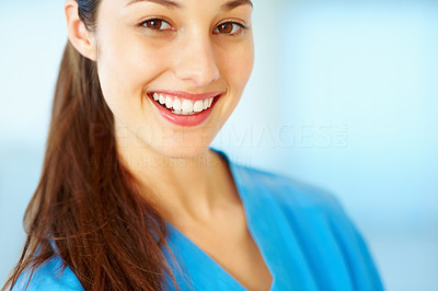Buy stock photo Closeup of cute young doctor smiling