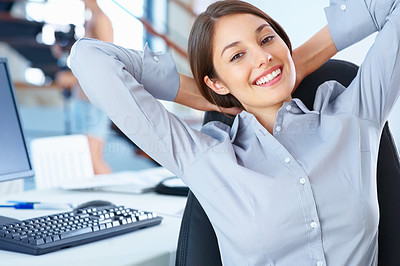 Buy stock photo Portrait of cute business woman sitting in office and relaxing with hands behind head