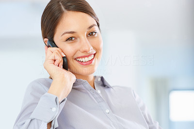 Buy stock photo Portrait of attractive young business woman using cellphone and smiling